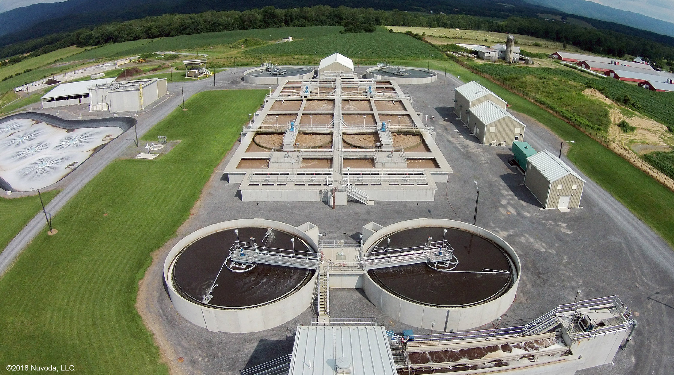 Aerial view of Moorefield, WV wastewater treatment plant.